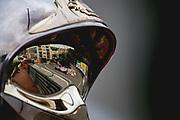 May 23-27, 2018: Monaco Grand Prix. Sergio Perez (MEX), Sahara Force India, VJM11 reflected in a Monaco marshals helmet