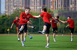 NANNING, CHINA - Wednesday, March 21, 2018: Wales' Ben Woodburn and Harry Wilson during a training session at the Guangxi Sports Centre ahead of the opening 2018 Gree China Cup International Football Championship match against China. (Pic by David Rawcliffe/Propaganda)