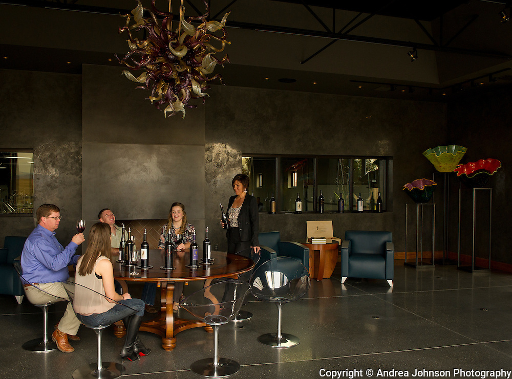 Chihuly blown glass art pieces decorate Long Shadows Vintners Walla Walla tasting room, Washington
