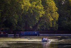 According to the Met Office, August 31st marks the last day of summer and there certainly is a bit of a nip in the air around Little Venice in London as friends enjoy a cruise in a GoBoat on the Regents Canal. London, August 31 2018.