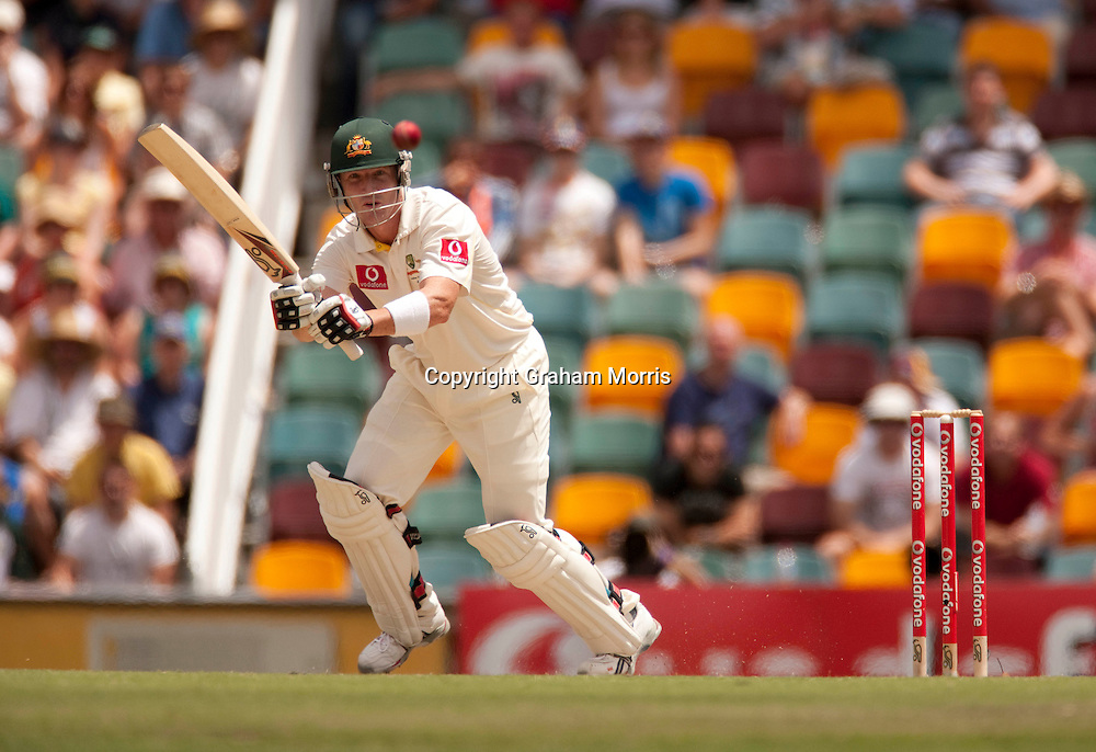 Brad Haddin bats during his 136 in the first Ashes Test Match between Australia and England at the Gabba, Brisbane. Photo: Graham Morris (Tel: +44(0)20 8969 4192 Email: sales@cricketpix.com) 27/11/10