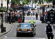 © licensed to London News Pictures. LONDON, UK.  21/06/11. The Queen leaves Downing Street. The Queen and Duke of Edinburgh visit Number 10 Downing Street for Lunch with British Prime Minister, David Cameron and his wife Samantha. Visits to the street by the Queen are rare with the last time being in 2002 when Tony Blair was Prime Minister.. Mandatory Credit Stephen Simpson/LNP