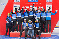 Women  team of Slovenia celebrates after the  last Individual Competition in season 2013/14 at 4th day of FIS Ski Jumping World Cup Finals Planica 2014, on March 23, 2014 in Planica, Slovenia. Photo by Vid Ponikvar / Sportida
