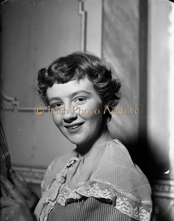"08/02/1953<br /> 02/08/1953<br /> 08 February 1953<br /> Ann Riordan, Frankfort Park, Dundrum, as she appeared in St. Mary's P.P.U. Dramatic Society's presentation of ""The Imaginary Invalid""."