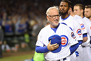 CHICAGO, IL - OCTOBER 15:  Manager Joe Maddon #70 of the Chicago Cubs looks on during the National Anthem prior to Game 1 of NLCS against the Chicago Cubs at Wrigley Field on Saturday, October 15, 2016 in Chicago, Illinois. (Photo by Ron Vesely/MLB Photos via Getty Images) *** Local Caption *** Joe Maddon