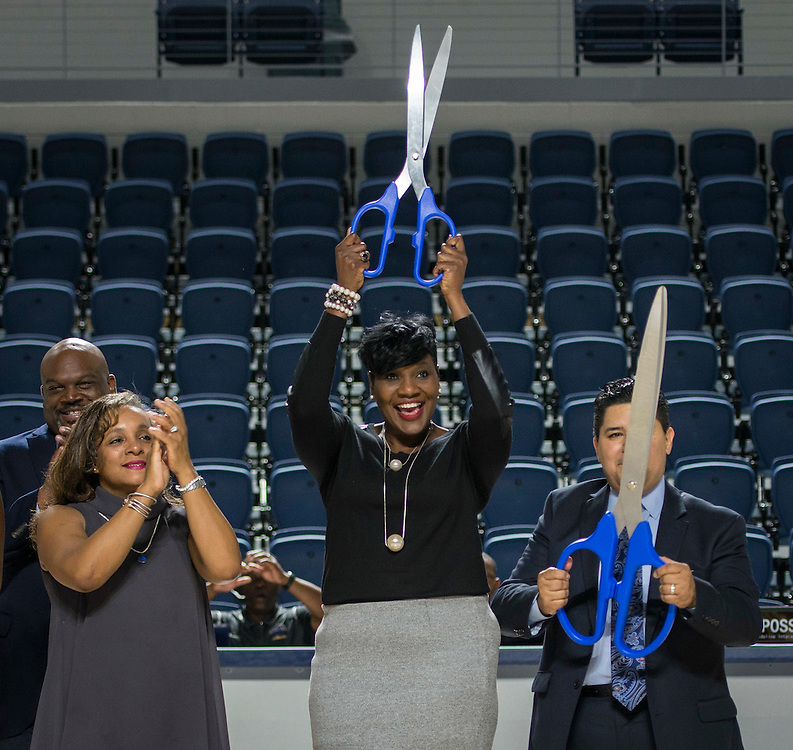 Rhonda Skillern-Jones, Wanda Adams and Richard Carranza celebrate after cutting the ribbon during a grand opening ceremony at Delmar Fieldhouse, February 10, 2017.
