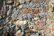 Close up of building materials used in medieval church tower construction
