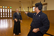 Okinawa Prefectural Budo?kan. Hamamoto Hisao Sensei, 72, teaches his family style of Batto Do, Koden HachimanRyu Jissen BattoJutsu.