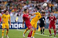 SYDNEY, AUSTRALIA - NOVEMBER 20: Australian defender Rhyan Grant (28) heads the ball away at the international soccer match between Australia and Lebanon at ANZ Stadium in NSW, Australia. on November 20, 2018. (Photo by Speed Media/Icon Sportswire)