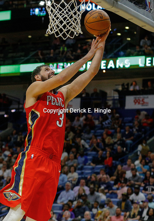 Feb 14, 2018; New Orleans, LA, USA; New Orleans Pelicans forward Nikola Mirotic (3) against the Los Angeles Lakers during the second half at the Smoothie King Center. The Pelicans defeated the Lakers 139-117. Mandatory Credit: Derick E. Hingle-USA TODAY Sports