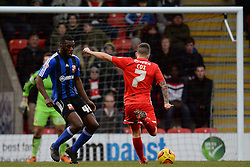Orient's Dean Cox takes a shot at goal - Photo mandatory by-line: Mitchell Gunn/JMP - Tel: Mobile: 07966 386802 22/02/2014 - SPORT - FOOTBALL - Brisbane Road - Leyton - Leyton Orient V Swindon Town - League One