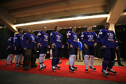 Players at taking pictures for IIHF Hall of Fame of Slovenian national team at Hockey IIHF WC 2008 in Halifax,  on May 04, 2008 in Metro Center, Halifax, Canada.  (Photo by Vid Ponikvar / Sportal Images)