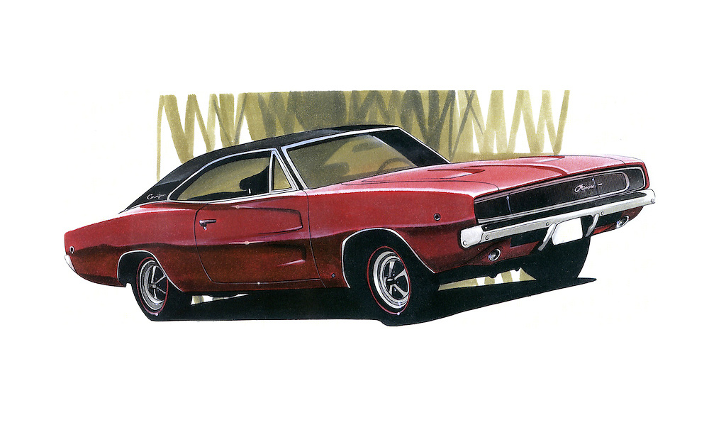 Dodge Charger car drawing using Pantone Tria Markers by Letraset. Adrian Dewey