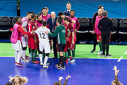 Players of Portugal during futsal quarterfinal match between National teams of Portugal and Azerbaijan at Day 8 of UEFA Futsal EURO 2018, on February 6, 2018 in Arena Stozice, Ljubljana, Slovenia. Photo by Urban Urbanc / Sportida