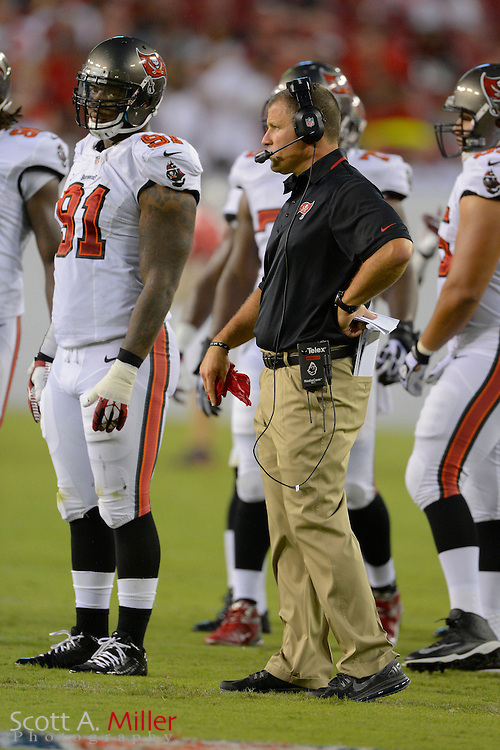 Tampa Bay Buccaneers head coach Greg Schiano during a preseason NFL game at Raymond James Stadium on Aug. 8, 2013 in Tampa, Florida. <br /> <br /> &copy;2013 Scott A. Miller