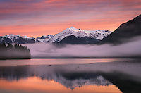 Sunrise over Mount Shuksan (9131 feet, 2783 meters) and Baker Lake, North Cascades Washington