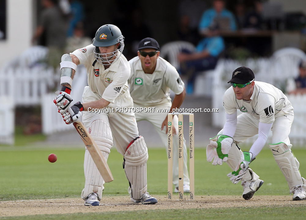 Australian batsman Simon Katich defends as Brendon McCullum looks on.<br />Test Match Cricket. 2nd test. Day 3.<br />New Zealand Black Caps versus Australia. Seddon Park, Hamilton, New Zealand. Monday 29 March 2010. <br />Photo: Andrew Cornaga/PHOTOSPORT