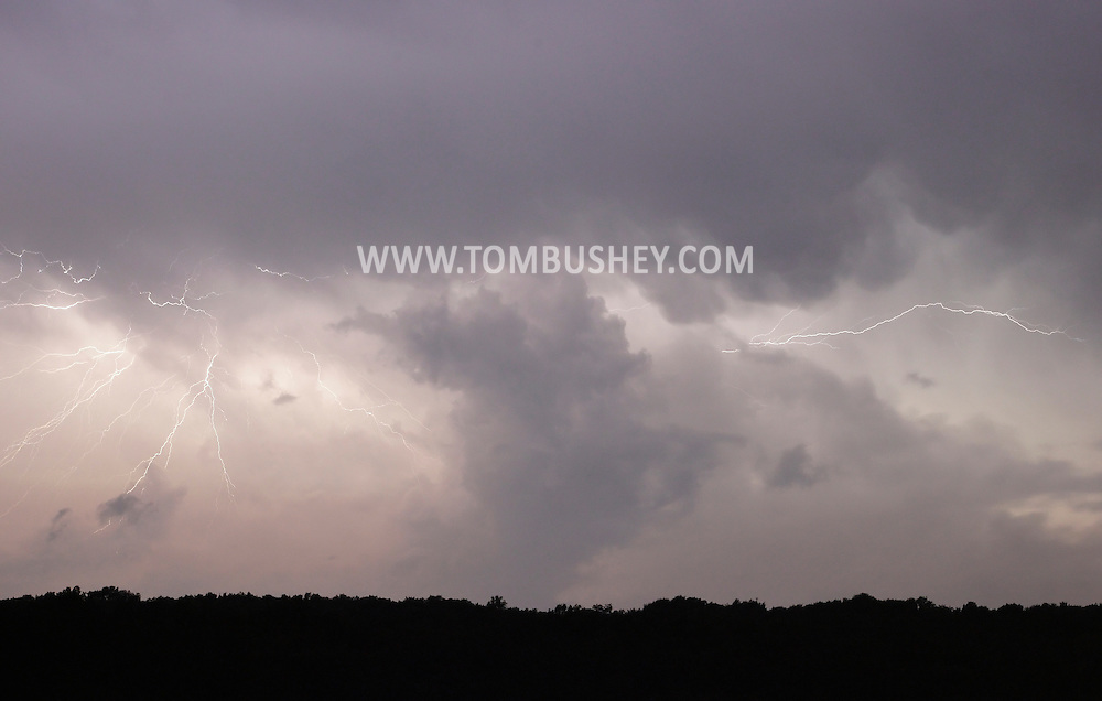 Middletown, New York - Lightning streaks across the sky during a thunderstorm on the night of Aug. 1, 2011.