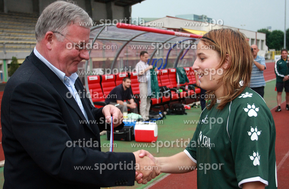 President of NZS Rudi Zavrl at medal ceremony after final game of NZS women football cup between ZNK Pomurje vs ZNK Krka, on June 4, 2008, at ZAK stadium in Ljubljana, Slovenia. Krka won the match 4:1 and became Slovenian Cup Champion. (Photo by Vid Ponikvar / Sportal Images)