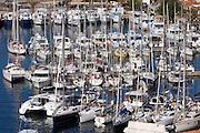 Yachts and sailing boats at Bonifacio's marina and yacht harbour.