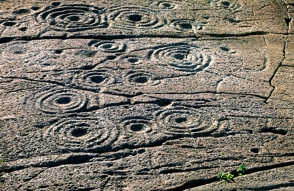 Prehistoric cup and ring mark marks carved stone rock art outcrop at Cairnbaan, Kilmartin Valley, Argyll, west Scotland, UK