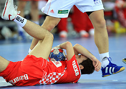 Mateo Hrvatin (2) of Croatia during 21st Men's World Handball Championship 2009 Main round Group I match between National teams of Croatia and Hungary, on January 24, 2009, in Arena Zagreb, Zagreb, Croatia.  (Photo by Vid Ponikvar / Sportida)