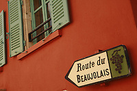 sign for Route de Beaujolais.. September 15, 2007..Photo by Owen Franken for the NY Times.