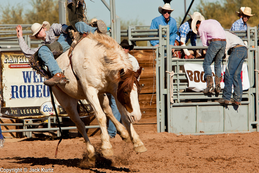 26 NOVEMBER 2011 - CHANDLER, AZ:    BRANDON SMITH competes in the bareback bronc competition at the Grand Canyon Pro Rodeo Association (GCPRA) Finals at Rawhide Western Town in west Chandler, AZ, about 20 miles from Phoenix Saturday. The GCPRA Finals is the last rodeo of the GCPRA season. The GCPRA is a professional rodeo association based in Arizona.     PHOTO BY JACK KURTZ