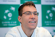 Jerzy Janowicz of Poland while official draw at Regent Hotel one day before the BNP Paribas Davis Cup 2014 between Poland and Croatia at Torwar Hall in Warsaw on April 3, 2014.<br /> <br /> Poland, Warsaw, April 3, 2014<br /> <br /> Picture also available in RAW (NEF) or TIFF format on special request.<br /> <br /> For editorial use only. Any commercial or promotional use requires permission.<br /> <br /> Mandatory credit:<br /> Photo by &copy; Adam Nurkiewicz / Mediasport