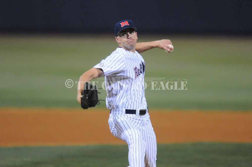 Ole Miss' Matt Crouse (20) pitches against Alabama at Oxford-University Stadium in Oxford, Miss. on Friday, March 18, 2011. Ole Miss won 4-0. crouse gave up 3 hits and struck out 7 in 6.2 innings. The Rebels are 15-4 on the season and 1-0 in SEC play.  (AP Photo/Oxford Eagle, Bruce Newman)