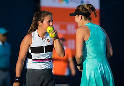 March 21, 2019 - Miami, FLORIDA, USA - Daria Kasatkina of Russia & Belinda Bencic of Switzerland playing doubles at the 2019 Miami Open WTA Premier Mandatory tennis tournament (Credit Image: © AFP7 via ZUMA Wire)