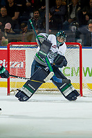 KELOWNA, CANADA - OCTOBER 10: Liam Hughes #30 of the Seattle Thunderbirds makes a save against the Kelowna Rockets on October 10, 2018 at Prospera Place in Kelowna, British Columbia, Canada.  (Photo by Marissa Baecker/Shoot the Breeze)  *** Local Caption ***