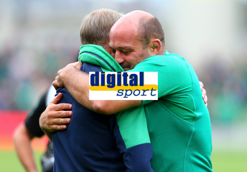 Rugby Union - 2019 pre-Rugby World Cup warm-up (Guinness Summer Series) - Ireland vs. Wales<br /> <br /> Rory Best (c) (Ireland) shares an embrace with Ireland's Head Coach, Joe Schmidt, at The Aviva Stadium.<br /> <br /> COLORSPORT/KEN SUTTON