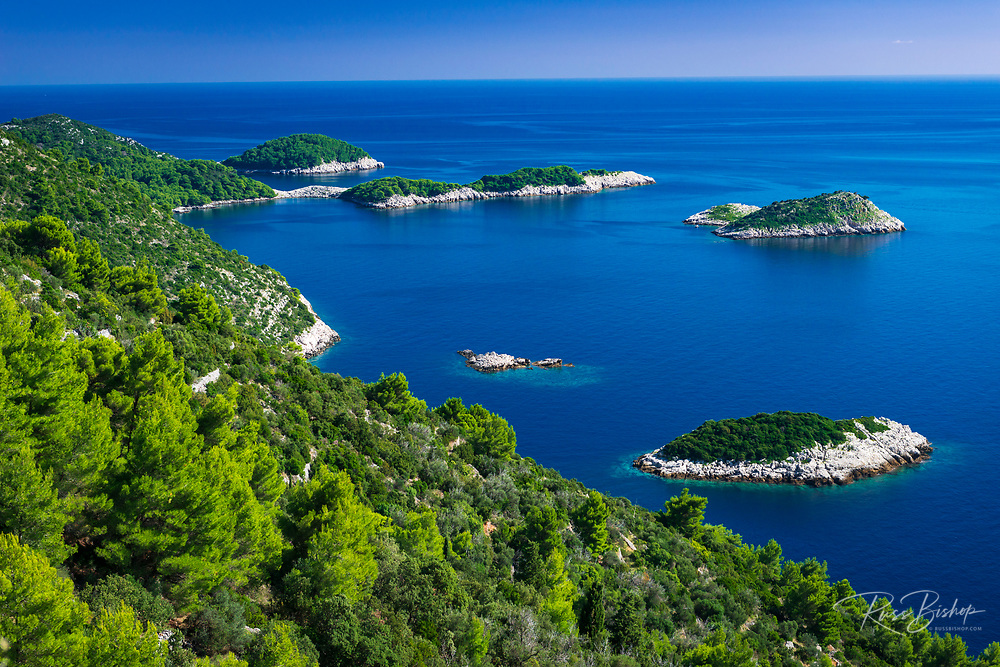 Islets along the coast at Maranovici, Mljet Island, Dalmatian Coast, Croatia