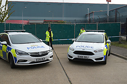 © Licensed to London News Pictures. 23/10/2019. London UK: Police close off the Waterglade industrial estate in Thurrock, Essex after 39 bodies were found in the back of a lorry believed to have come from Bulgaria , Photo credit: Steve Poston/LNP