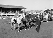 Dublin Horse Show (Aga Khan Cup).1986..08.08.1986..08.08.1986..8th August 1986..The annual Aga Khan Cup competition was held in the R.D.S. Dublin.Four countries competed for the cup this year.FDR Germany,The USA,Great Britain and Ireland. Great Britain were the eventual winners..Pictured with hats removed for the National Anthems the teams line up for the presentation of the Aga Khan, Nations Cup.