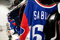 Jersey of Robert Sabolic of Slovenia in Slovenian wardrobe prior to the ice-hockey match between Slovenia and Latvia of IIHF 2011 World Championship Slovakia, on May 5, 2011 in Orange Arena, Bratislava, Slovakia.  (Photo By Vid Ponikvar / Sportida.com)