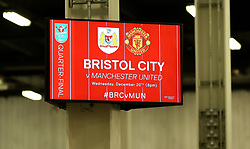 Concourse TV showing details for the Carabao Cup Quarter Final fixture with Manchester United - Mandatory by-line: Robbie Stephenson/JMP - 20/12/2017 - FOOTBALL - Ashton Gate Stadium - Bristol, England - Bristol City v Manchester United - Carabao Cup Quarter Final