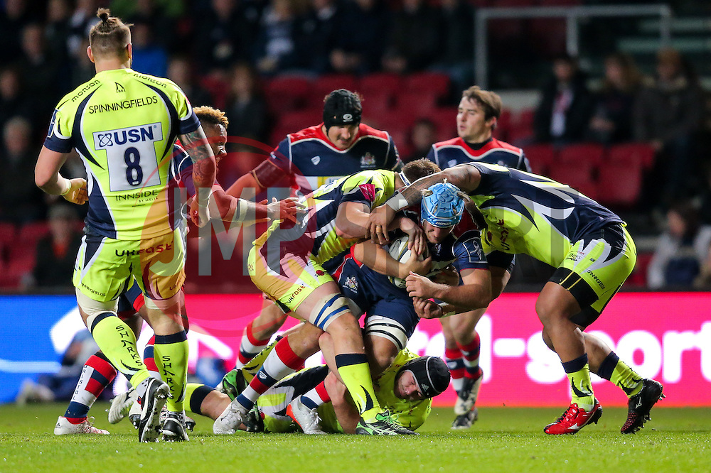 Jordan Crane (capt) of Bristol Rugby is tackled - Rogan Thomson/JMP - 11/11/2016 - RUGBY UNION - Ashton Gate Stadium - Bristol, England - Bristol Rugby v Sale Sharks - Anglo Welsh Cup.