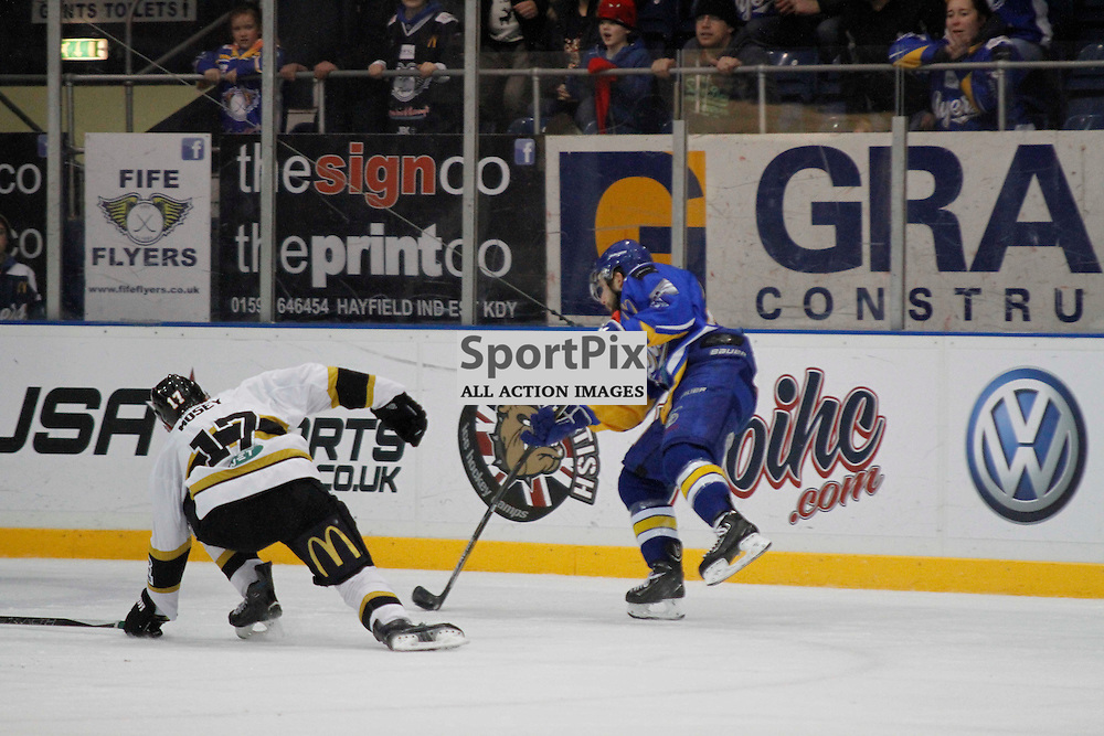 Fife Flyers V Nottingham Panthers, Elite Ice Hockey League, 13 December 2015Fife Flyers V Nottingham Panthers, Elite Ice Hockey League, 13 December 2015<br /> <br /> FIFE FLYERS #20 MICHAEL DORR'S SHOT HITS THE EMPTY NET TO SEAL THE MATCH
