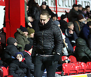 unhappy Brentford fan leaving before half time during the Sky Bet Championship match between Brentford and Burnley at Griffin Park, London, England on 15 January 2016. Photo by Matthew Redman.