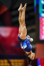 October 28, 2018 - Doha, Quatar - Melanie Jesus De Dos Santos of  France   during  Balancing Beam qualification at the Aspire Dome in Doha, Qatar, Artistic FIG Gymnastics World Championships on 28 of October 2018. (Credit Image: © Ulrik Pedersen/NurPhoto via ZUMA Press)