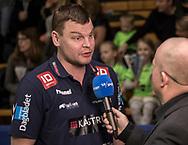 HÅNDBOLD: Cheftræner Patrick Westerholm (TTH Holstebro) giver interview før kampen i 888-Ligaen mellem Nordsjælland Håndbold og TTH Holstebro den 28. marts 2018 i Helsingør Hallen. Foto: Claus Birch.
