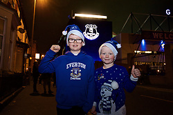 LIVERPOOL, ENGLAND - Monday, December 19, 2016: Young Everton supporters outside Goodison Park ahead of the FA Premier League match between Everton and Liverpool, the 227th Merseyside Derby, at Goodison Park. (Pic by Gavin Trafford/Propaganda)