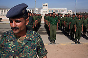 Yemen Central Security Forces (CSF) soldiers stand at attention during a troop review April 14, 2010 on the parade grounds at the CSF headquarters in the Yemeni capital, Sana'a. Yemen faces a number of security problems including the Houthi rebellion in the north, separatists in the south and Al Qaeda in the Arabian Peninsula, but is taking steps to rapidly train and deploy a variety of security forces with the help of the USA, the UK, and other governments.