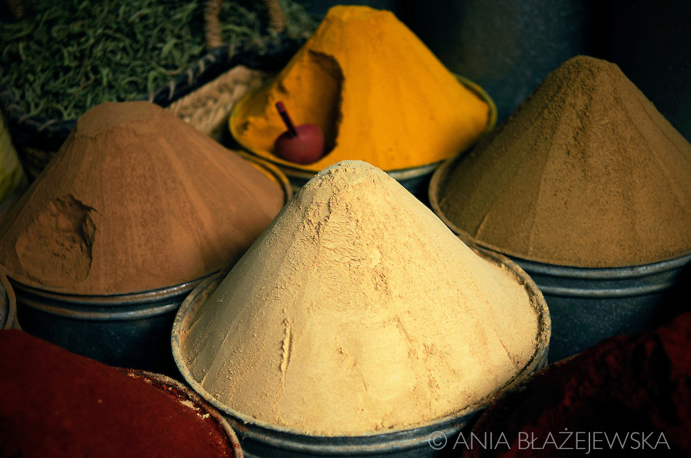 Morocco, Fez. Colorful spices from the shop in the medina.
