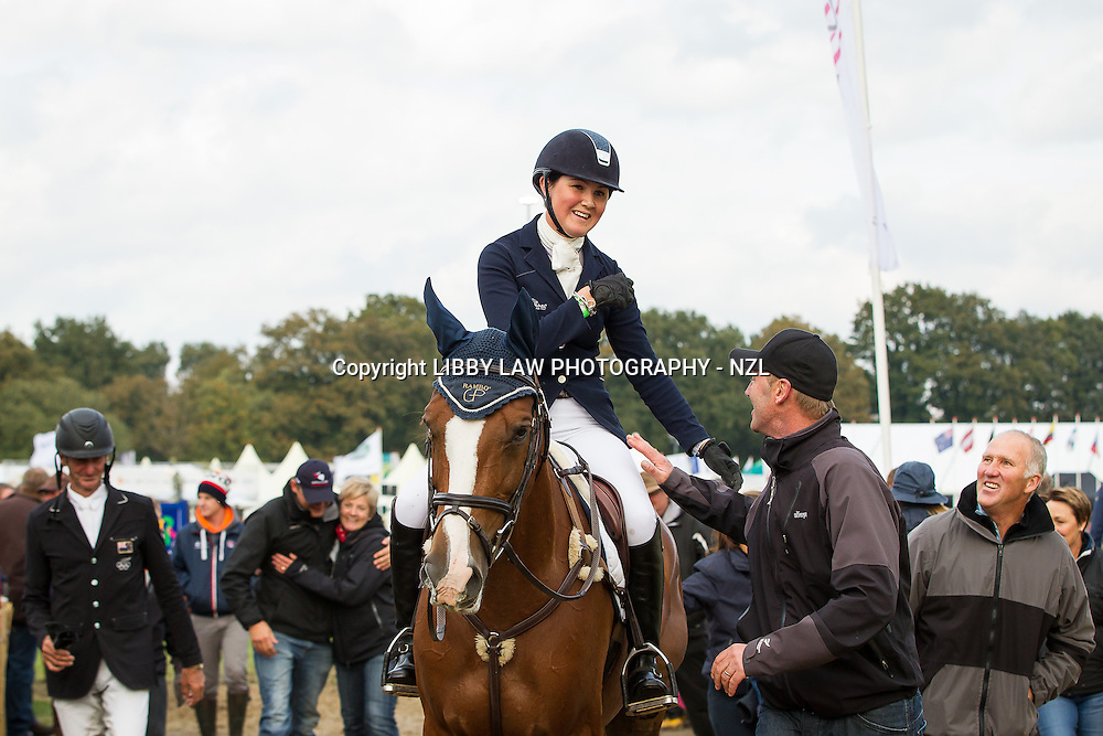 2013 TITLE WINNER: NZL-Lizzie Brown (HENTON ATTORNEY GENERAL) with ESNZ Cheif d'Equipe: Erik Duvander: FINAL-1ST: CCIO3* SHOWJUMPING: 2013 NED-Military Boekelo International Horse Trial (Sunday 13 October) CREDIT: Libby Law: COPYRIGHT: LIBBY LAW PHOTOGRAPHY - NZL