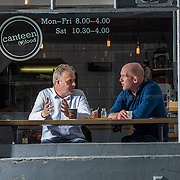 10.08.2016<br /> Alan English, Author and former Munster and Irish Rugby Captain, Paul O'Connell, collaborating on Pauls book over a coffee at Canteen, Limerick. Picture: Alan Place