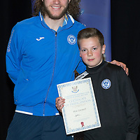 St Johnstone FC Youth Academy Presentation Night at Perth Concert Hall..21.04.14<br /> Stevie May presents to Max Carswell<br /> Picture by Graeme Hart.<br /> Copyright Perthshire Picture Agency<br /> Tel: 01738 623350  Mobile: 07990 594431