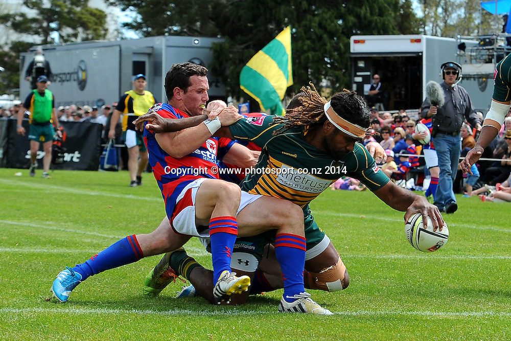 Mid-Canterbury player Peni Manumanuiliwa scores a try during the Heartland Championship Meads Cup Final - Buller v Mid Canterbury. Victoria Square, Westport, New Zealand. Saturday 25 October 2014. Photo: Chris Symes/www.photosport.co.nz